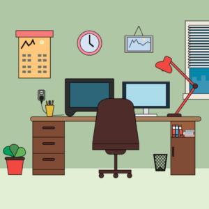 cartoon office setup